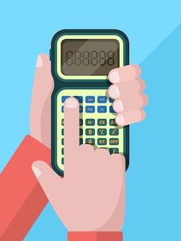 Calcolatrice mano. uomo d'affari che tiene e usa la calcolatrice con i numeri. illustrazione piana di vettore. calcolo e contabilità, calcolo contabile