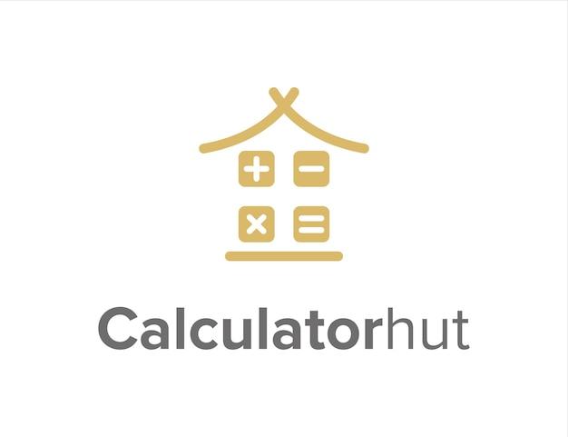 Calcolatrice e capanna semplice elegante design geometrico creativo moderno logo