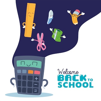 Calcolatrice e set di icone per cartoni animati, lezione di educazione alla scuola