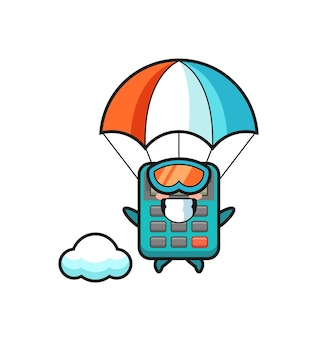 Il fumetto della mascotte della calcolatrice sta facendo paracadutismo con un gesto felice, un design in stile carino per maglietta, adesivo, elemento logo