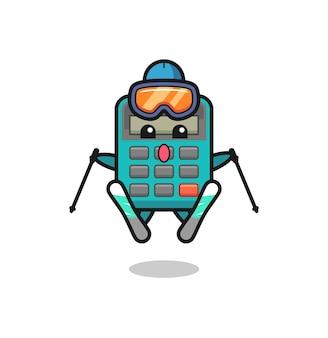 Personaggio mascotte calcolatrice come giocatore di sci, design in stile carino per maglietta, adesivo, elemento logo