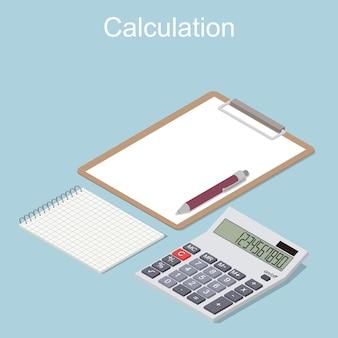 Calcolatrice in prospettiva. isometrico piatto. blocco note con penna e foglio pulito. concetto del calcolo delle entrate e delle spese. illustrazione vettoriale.