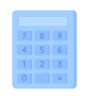 Oggetto vettoriale di colore semi piatto calcolatrice. prestazioni di operazioni aritmetiche. l'utilizzo del dispositivo per i calcoli matematici ha isolato l'illustrazione moderna in stile cartone animato per la progettazione grafica e l'animazione