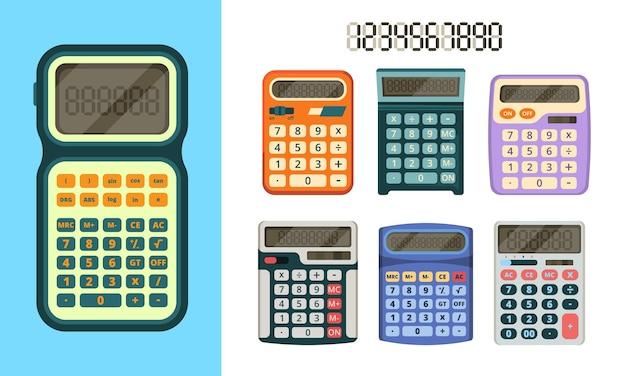 Icona piana di calcolatrici. gadget per la raccolta di strumenti educativi per uomini d'affari e operatori finanziari vettore di calcolatrici. calcolatrice di contabilità finanziaria, illustrazione della tastiera elettronica di finanza
