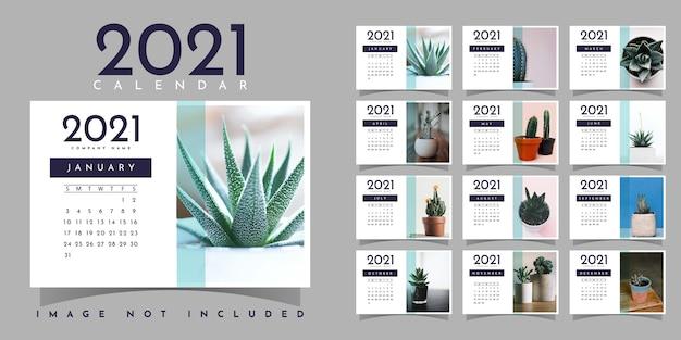 Calendario 2021 illustrazione modello di progettazione