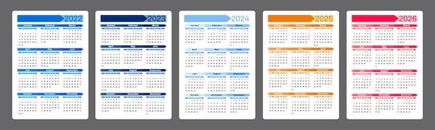 Calendario 2022 2023 2024 20252026 modello di design verticale semplice la settimana inizia di domenica