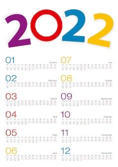 Calendario 2022, tutto il mese, riga di 2 settimane.