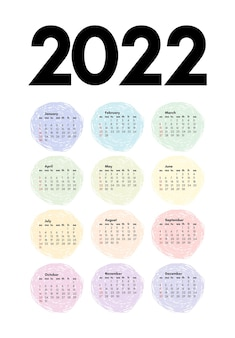 Calendario per il 2022 isolato su uno sfondo bianco. da domenica a lunedì, modello di business. illustrazione vettoriale