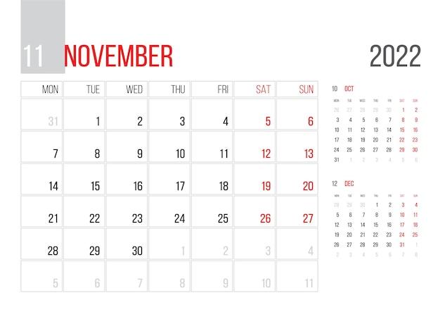 Calendario 2022 pianificatore modello aziendale design mese di marzo la settimana inizia il lunedì griglia di base