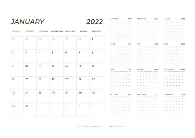 Modello di settimana di pianificazione del calendario 2022