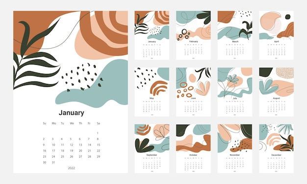 Calendario 2022 modello vettoriale set calendario da tavolo 2022 calendario da parete design planner