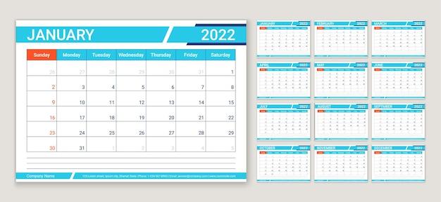 Calendario 2022 settimana inizia domenica pianificatore modello calendario layout organizzatore annuale con 12 mesi