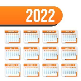 Calendario per il 2022 su sfondo bianco per organizzazione e affari