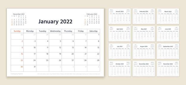 Calendario 2022 anno. modello di pianificatore. la settimana inizia domenica. vettore. organizzatore annuale.