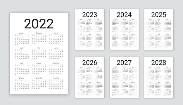 Calendario 2022 anno. la settimana inizia domenica. disposizione semplice delle calandre tascabili o da parete. modello di calendario da tavolo
