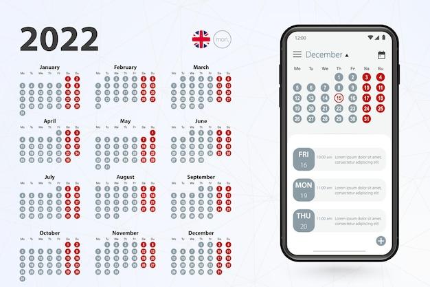 App calendario per telefono cellulare, calendario vettoriale 2022 settimane di stelle da lunedì.