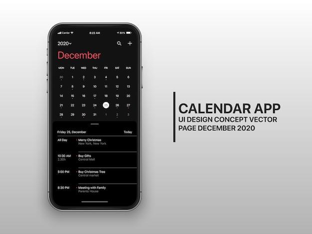 Pagina concettuale dell'interfaccia utente dell'interfaccia utente dell'app calendario dicembre modalità oscura