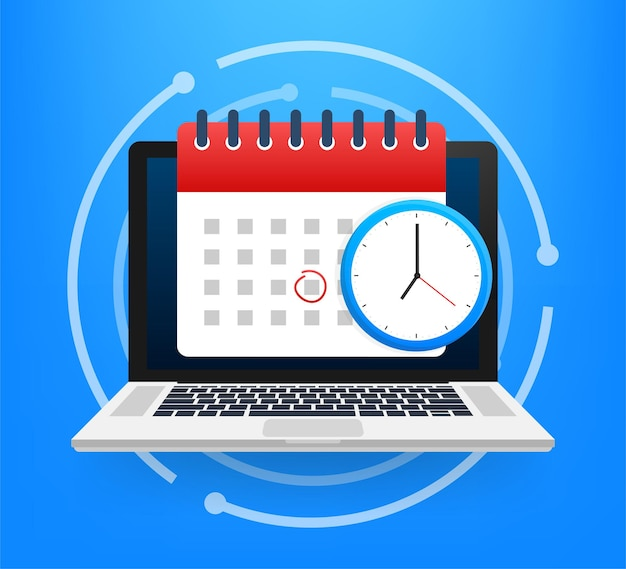Icona del calendario e dell'orologio. calendario da parete. importante, programma, data dell'appuntamento. illustrazione di riserva di vettore.