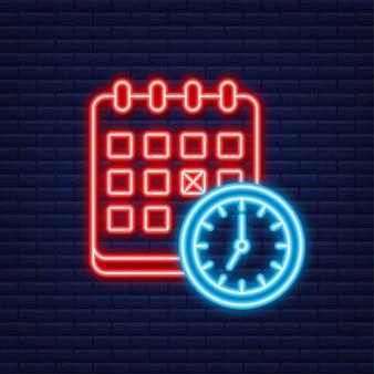 Icona del calendario e della linea dell'orologio. concetti di pianificazione. icona al neon. elementi grafici di design piatto moderno. illustrazione vettoriale.