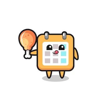 La simpatica mascotte del calendario sta mangiando un pollo fritto, un design in stile carino per maglietta, adesivo, elemento logo