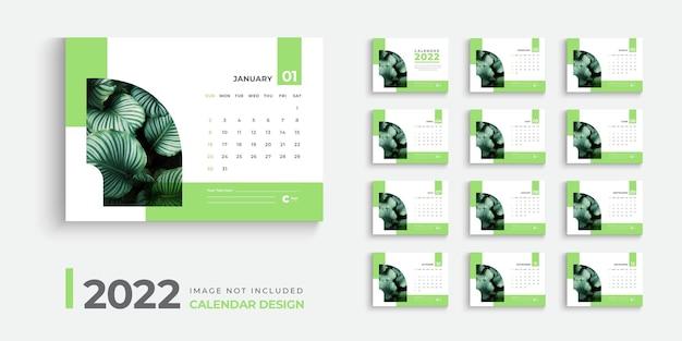 Design del calendario per il layout del design del calendario da tavolo 2022 con forme verdi creative