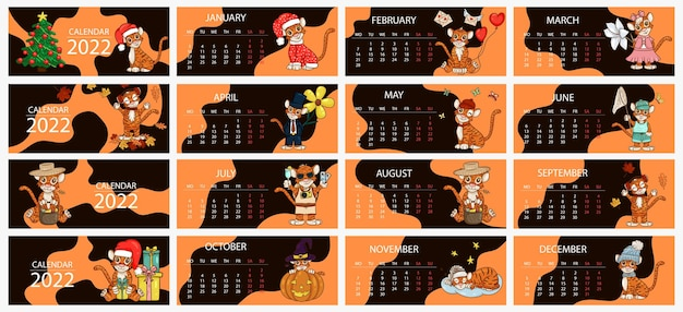 Modello di progettazione del calendario per il 2022, l'anno della tigre secondo il calendario cinese o orientale, con un'illustrazione della tigre, 12 mesi. tavolo orizzontale con calendario per il 2022. vector