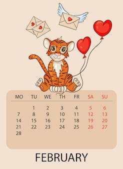 Modello di progettazione del calendario per febbraio 2022, l'anno della tigre secondo il calendario cinese, con un'illustrazione della tigre con palline a forma di cuore. tabella con calendario per febbraio 2022