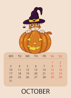 Modello di progettazione del calendario per ottobre 2022, l'anno della tigre secondo il calendario cinese o orientale, con un'illustrazione di una tigre con zucca. tabella con calendario per ottobre 2022.