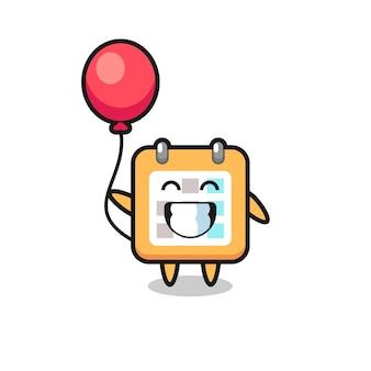L'illustrazione della mascotte del calendario sta giocando a palloncino, design in stile carino per maglietta, adesivo, elemento logo