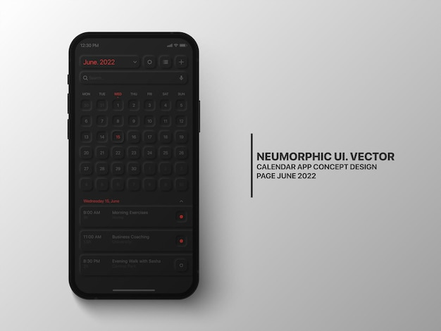 Calendar mobile app giugno 2022 con interfaccia utente task manager neumorphic design dark version