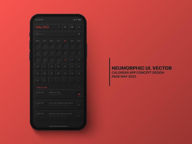 Calendario mobile app maggio 2022 con interfaccia utente task manager neumorphic design su sfondo rosso