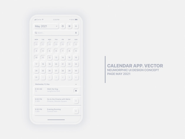 Pagina dell'app per dispositivi mobili di calendario maggio anno con interfaccia utente concettuale di task manager ux neumorfica
