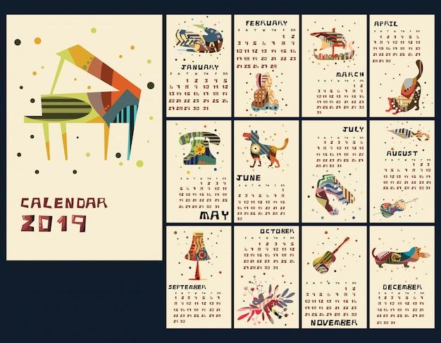 Illustrazione di vettore del nuovo anno 2019 del calendario