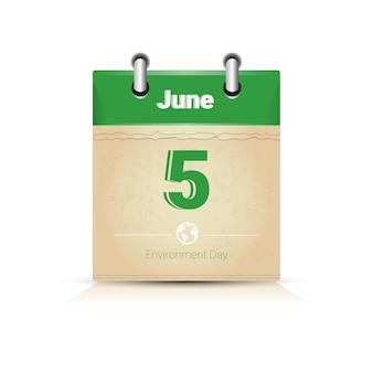Calendario page 5 giugno giornata mondiale dell'ambiente protezione ecologia holiday greeting card