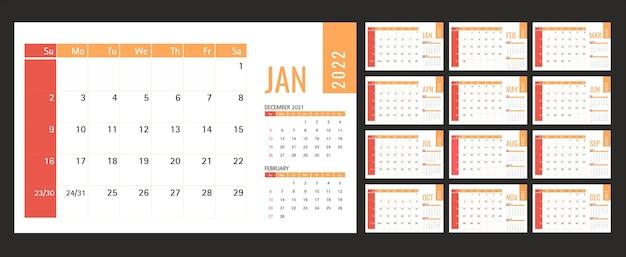 Modello di calendario o pianificatore 2022 12 mesi