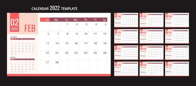 Modello di calendario o pianificatore 2022