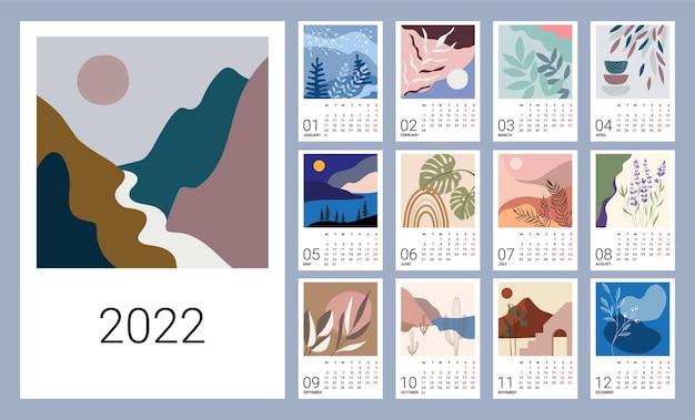 Modello di calendario per il 2022. design verticale con motivi naturali astratti. illustrazione modificabile, set di 12 mesi con copertina. maglia di vettore. la settimana inizia lunedì