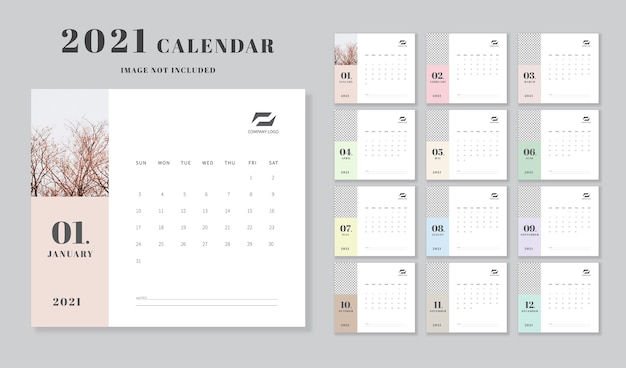 Modello di calendario. design minimale.
