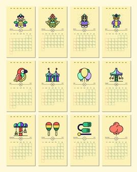 Modello di calendario con tema di carnevale