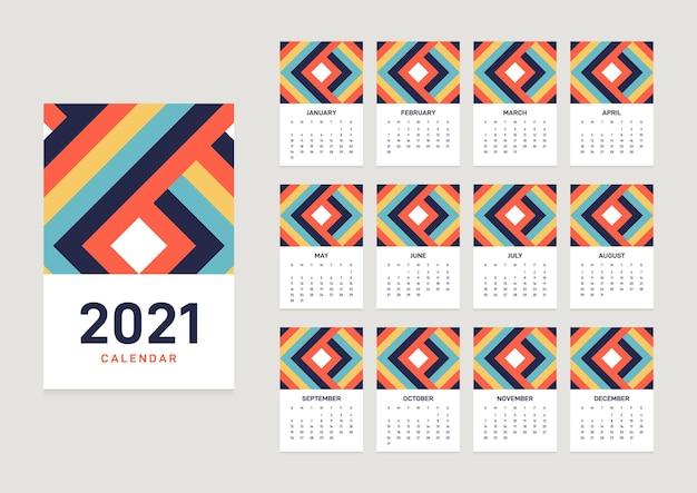 Modello di calendario con mesi decorativi con motivo a forma geometrica