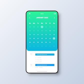 Concetto di interfaccia utente del calendario per l'applicazione mobile