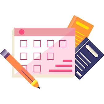 Pianificazione del tempo dell'evento di apprendimento dell'icona vettoriale del calendario