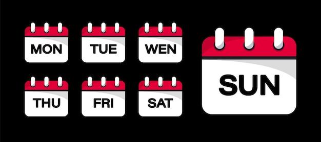 Pulsanti web del calendario - giorni della settimana. i distintivi dei giorni della settimana. set di icone del calendario di ogni giorno della settimana in stile piatto alla moda