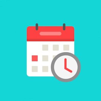 Calendario con l'orologio come fumetto piano isolato simbolo dell'icona di evento programmato in attesa