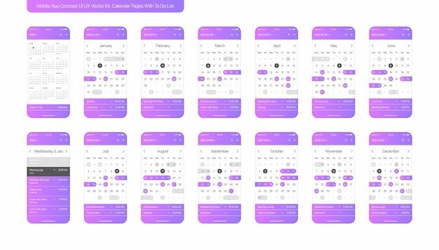 Calendario con to do list mobile app impostato su bianco