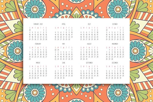 Calendario con mandala ornamento