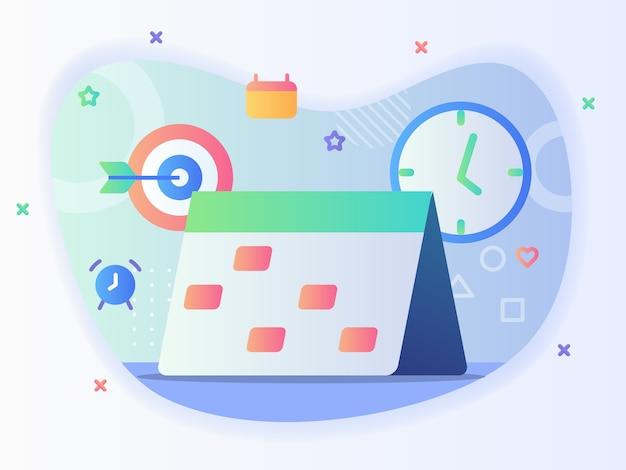 Icona del calendario sullo sfondo del concetto di pianificazione aziendale dell'orologio della freccia di allarme con stile cartone animato piatto.
