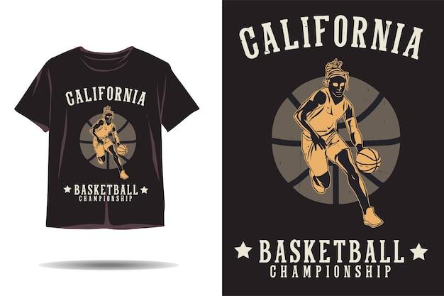 Design della maglietta sagoma del campionato di basket della california
