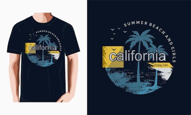 Design grafico della spiaggia della california sul tema estivo con vettore premium di palme