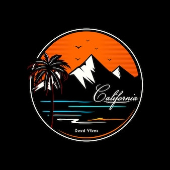 Vettore premium di design della maglietta della spiaggia della california